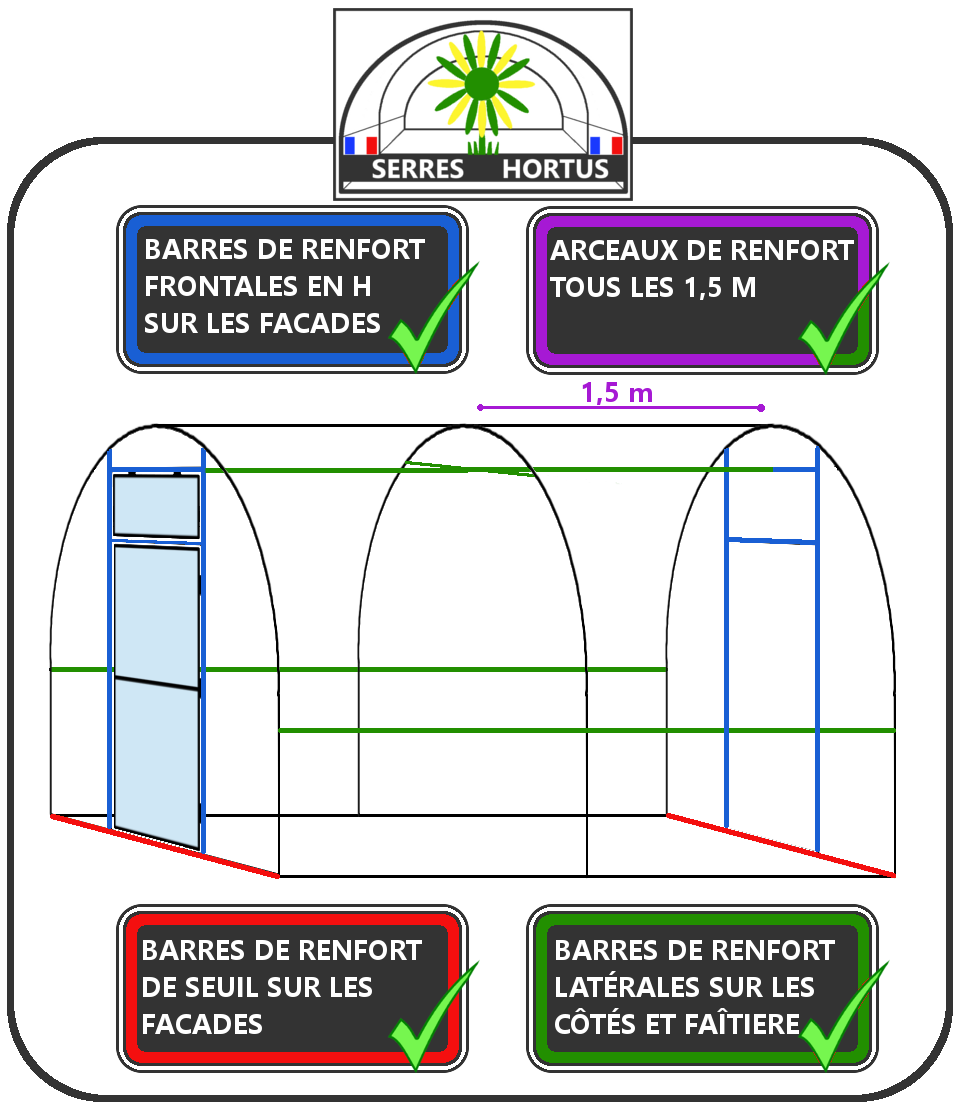 structure des serres tunnel renforcée