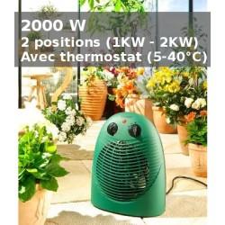 Chauffage pour serre - 2KW avec thermostat